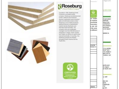 ROSEBURG DEVELOPS SEVEN ENVIRONMENTAL PRODUCT DECLARATIONS